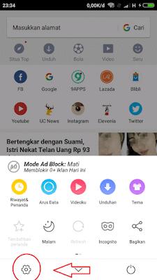 langkah untuk mehilangkan iklan di uc browser