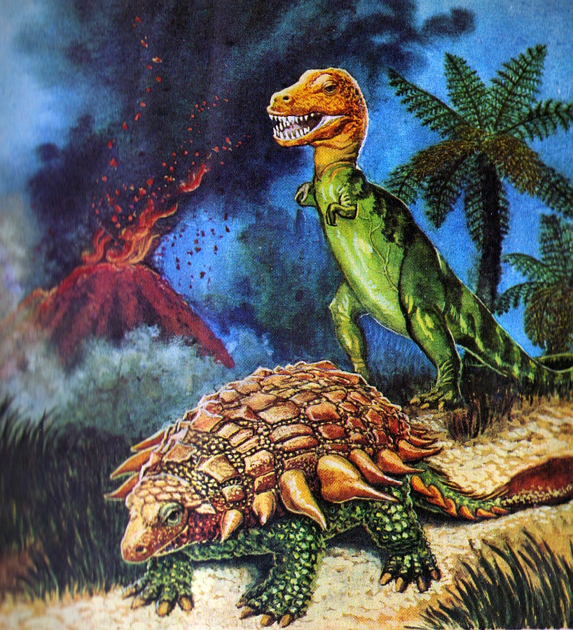 love in the time of chasmosaurs  vintage dinosaur art  dinosaurs  a little golden book