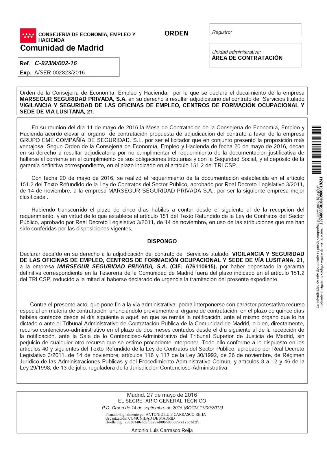 Ftsp uso las palmas una muy buena noticia la empresa pirata marsegur pierde un contrato en madrid - Oficina de empleo las palmas ...