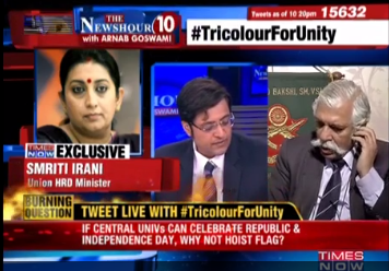Union HRD Minister placed a call to Times Now during live News Hour show to console Maj Gen G D Bakshi who broke down after losing his cool during a debate on national flag.  The News Hour guests led by anchor Arnab Goswami were debating on the central government's decision to hoist Indian flag at all central universities.