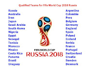 Fifa World Cup 2018 All Qualified (Confirmed List) Big Teams Failed   Qualified Teams for Fifa World Cup 2018 Russia  1. Russia 2. Australia 3. Iran 4. Japan 5. Saudi Arabia 6. South Korea 7. Nigeria 8. Egypt 9. Senegal 10. Tunisia 11. Morocco 12. Mexico 13. Costa Rica 14. Panama 15. Brazil 16. Uruguay 17. Argentina 18. Colombia 19. Peru 20. Belgium 21. Germany 22. England 23. Spain 24. Poland 25. Iceland 26. Serbia 27. France 28. Portugal 29. Switzerland 30. Croatia 31. Sweden 32. Denmark   Failed to Qualify  1. Italy   2. Netherlands 3. Copa América  4. Chile  5. United States  6. Cameroon 7. New Zealand 8. Ghana  9. Ivory Coast   Please like, share & subscribe….    Fifa World Cup 2018 All Qualified (Confirmed List) Big Teams Failed, 2018 fifa football world cup all playing teams, final teams for fifa world cup 2018, all qualified teams for fifa 2018, Russia fifa world cup, live score, match time, Fifa World Cup 2018 schedule & time table, Fifa World Cup 2018 fixture, Fifa World Cup 2018 match time, ist, gmt, local, match, live, all team squad for football world cup 2018, soccer world cup 2018, soccer world cup all teams, all player list, confirmed, official,