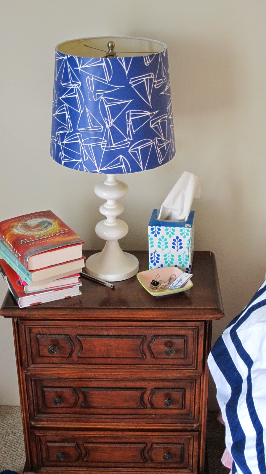 Nautical by Nature: DIY Nautical Wallpaper Lamp Shade Project