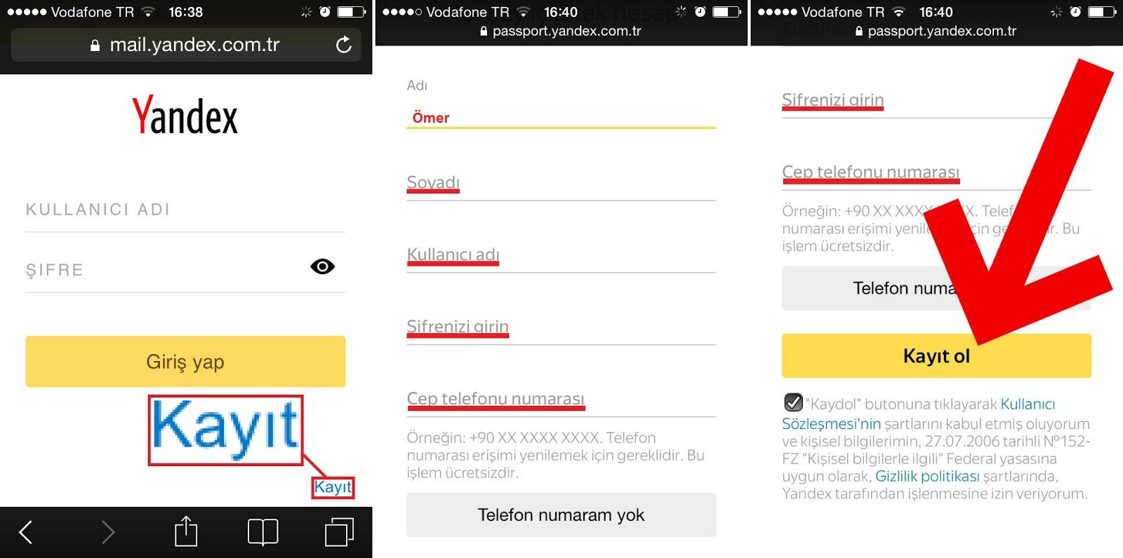 Yandex - 1 Dakikada Mail Adresi Alma