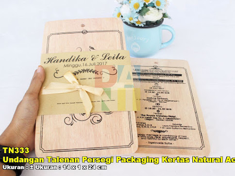Undangan Talenan Persegi Packaging Kertas Natural Accesories Pita