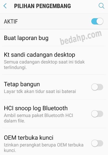 Pilihan Mode pengembang aktif di Samsung Galaxy