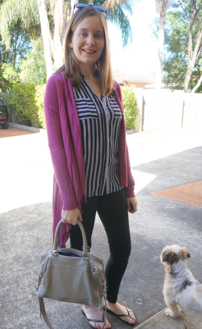 purple cardi, skinny jeans and navy stripe jeanswest top | Away From Blue Spring style