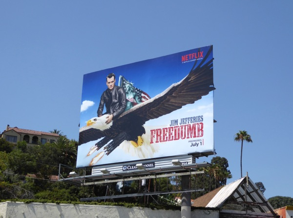 Freedumb Jim Jefferies comedy billboard