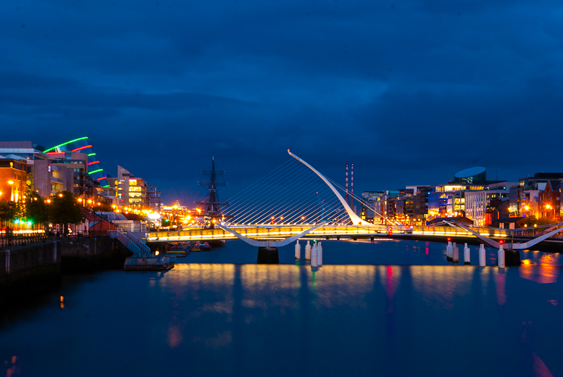 Picture of the Night lights on the Samuel Beckatt Bridge in Dublin Ireland