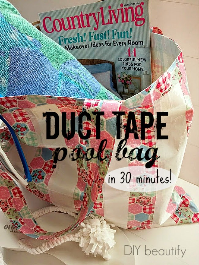 Instructions for a waterproof DIY duct tape beach bag with handles.