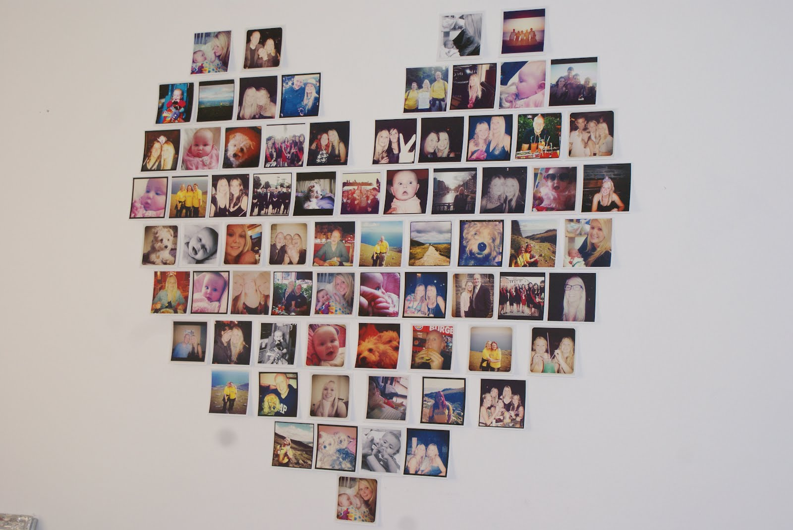 Heart Shaped Photo Collage Angels Love Stripes