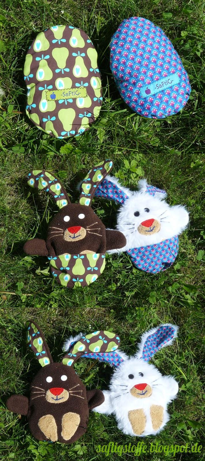 Hasen aus dem Ei aus Fleece und Plüsch genäht
