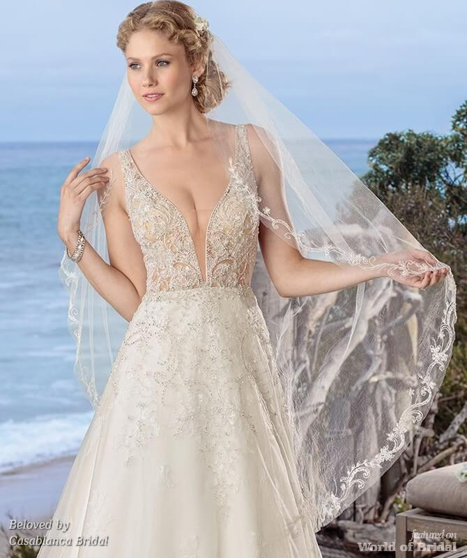 Beloved Spring 2018 A Line Bridal Gown With Iridescent Silver Beading