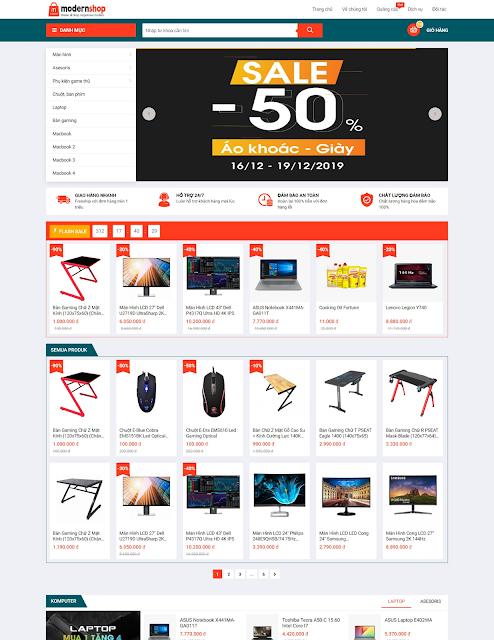 Template blogspot bán hàng miễn phí ModernShop