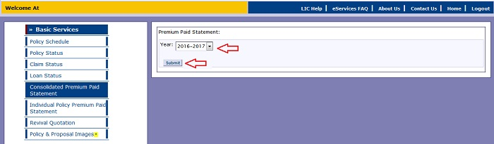 LIC Annual Premium Statements in Online for Income Tax 2017-2018 Purpose