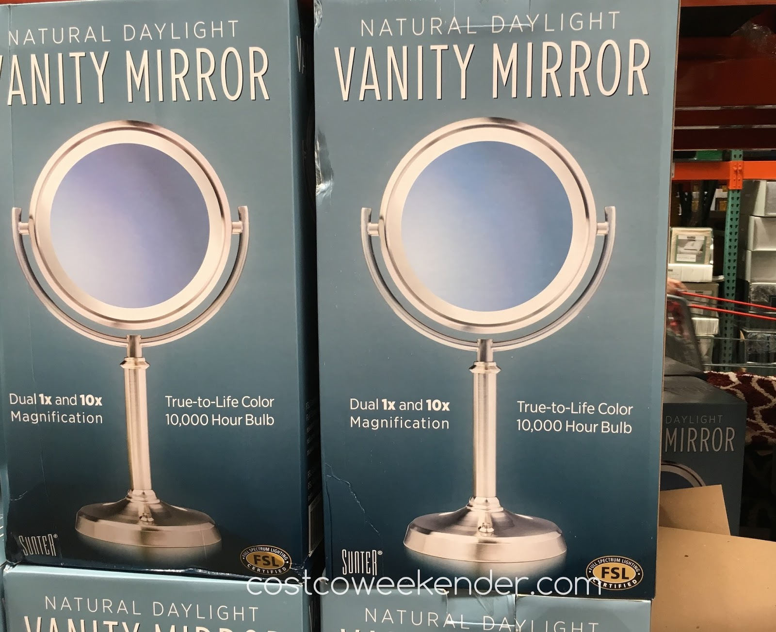 Sunter Natural Daylight Vanity Mirror Costco Weekender