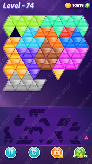Block! Triangle Puzzle Champion Level 74 Solution, Cheats, Walkthrough for Android, iPhone, iPad and iPod