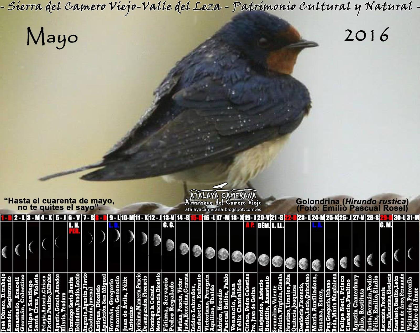 Atalaya camerana almanaque del camero viejo calendario 2016 for Fase lunar mayo 2016