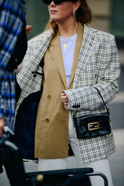 plaid blazer over camel blazer
