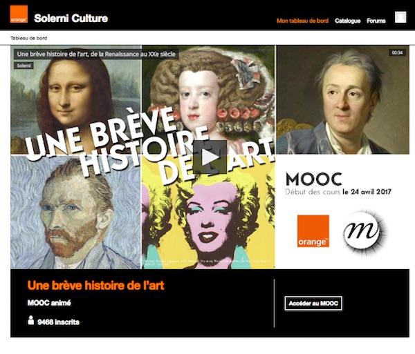 Copie d'écran de la page d'accueil du Mooc organisé par Orange et RMN-Grand Palais
