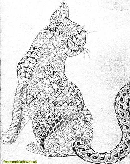 katzen malvorlage mandalacat mandala coloring page  free