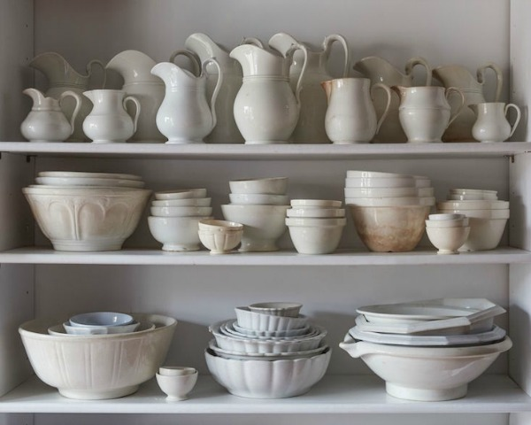 "French Farmhouse White Decorating Ideas.The ceramics collection serves as both art and serving ware. ""I use pretty everything I collect, as least as far as kitchen items,"" Sinauer says."