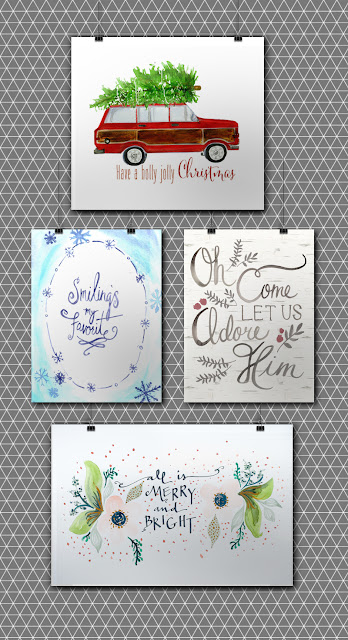 http://littlegoldpixel.com/2015/12/12-free-christmas-watercolor-printables/