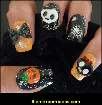 Halloween 3D Nail Art Decoration Bows Skulls Pumpkins Nail Art Crafts