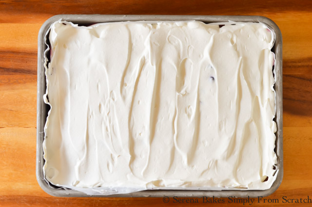 Red White and Blue Patriotic Poke Cake Whip Cream