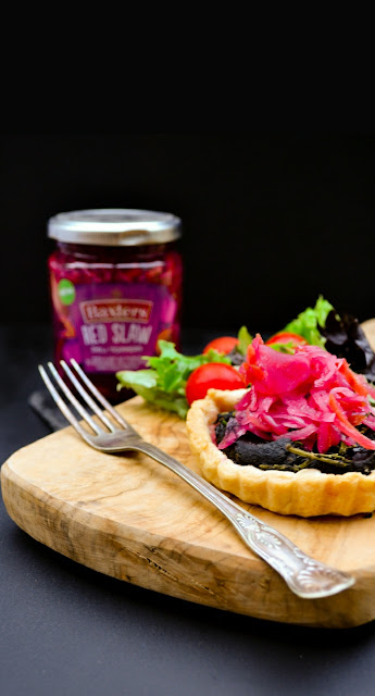 Crispy shortcrust pastry tarts filled with an earthy mushroom, salty samphire mixture and topped with pickled slaw. A vegan recipe suitable for those on a dairy free or egg free diet.
