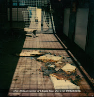 Exercise yard damaged in a riot at No.1 Division, Boggo Road, Brisbane, 1980s.