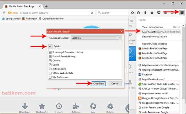 Cara membersihkan Chache dan History di komputer - Mozilla Firefox