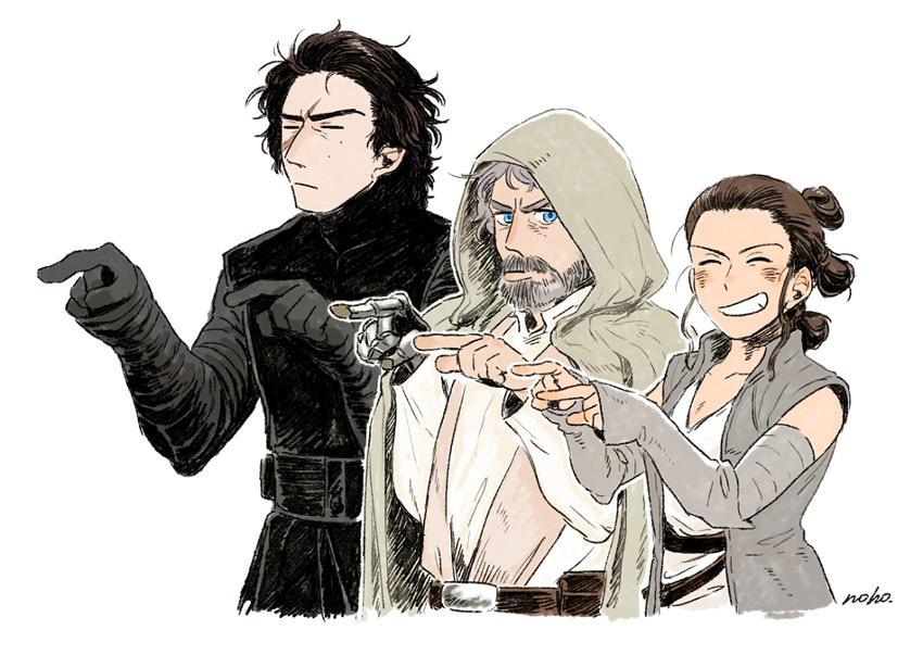 Kylo Ren, Luke Skywalker oraz Rey w stylu mangi i anime