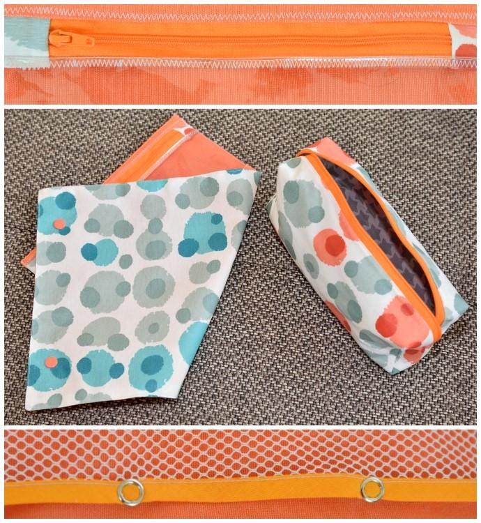 Verwendete Materialen der RollUp-Tasche: Beschichtete Baumwolle, Allround-Gewebe, Fensterfolie, Netzstoff