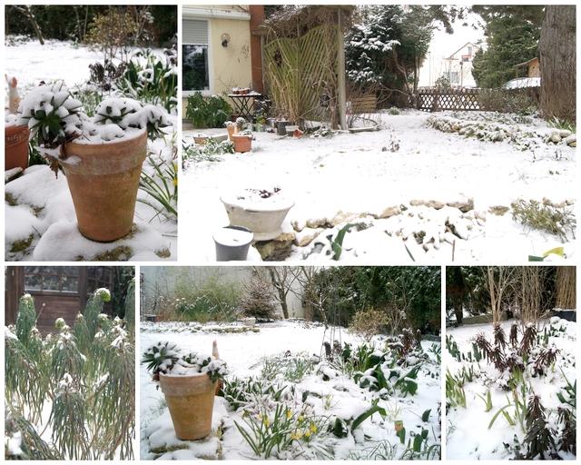 Schnee im Märzgarten
