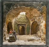 View of a Sepulchre in the Underground Grotto near the Church of S.Nicola on the Island of Lipari by Jean-Pierre-Laurent Houel - Landscape Drawings from Hermitage Museum