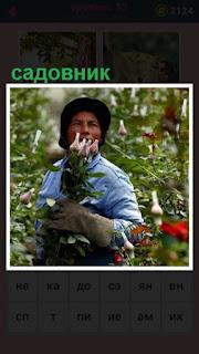 мужчина садовник собирает цветы в саду