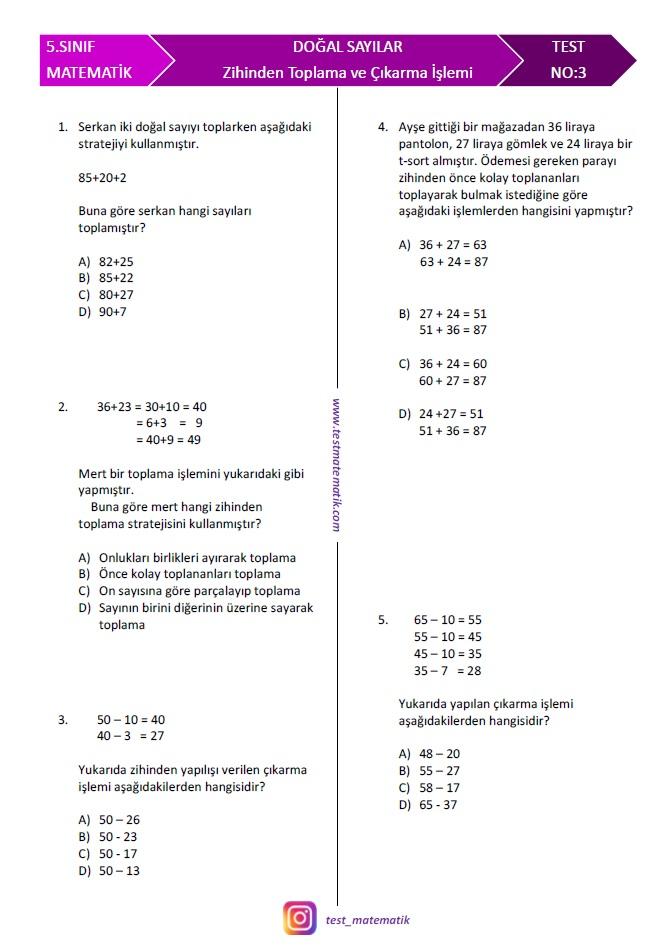 5 Sinif Zihinden Toplama Ve Cikarma Islemi Test Test Matematik