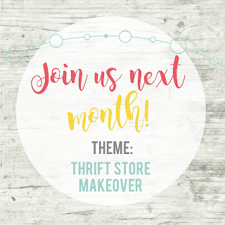 "Join us next month for the Inspire My Creativity Link Party, The theme for October is ""thrift store makeovers"""
