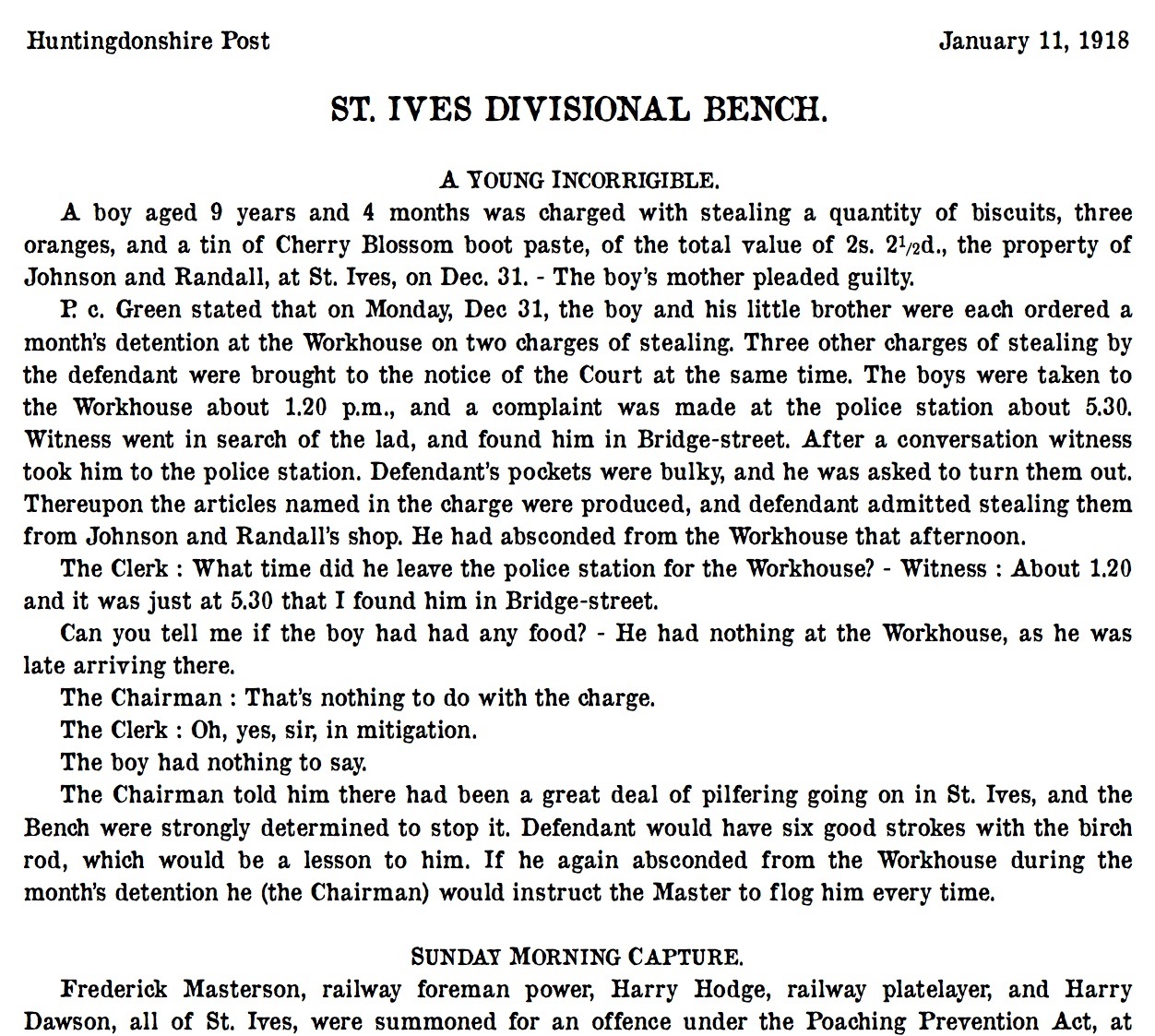 St Ives 11 January 1918