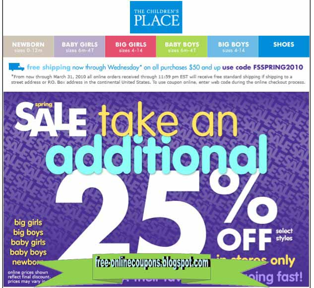 Children's place coupon code february 2018