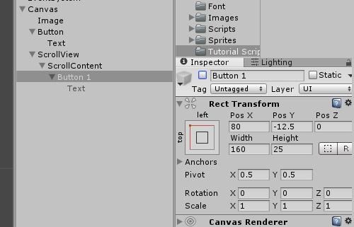 Greg and a duck: Unity UI - Dynamic Buttons and Scroll View