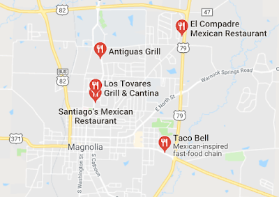 map of some of the Mexican restaurants in Magnolia