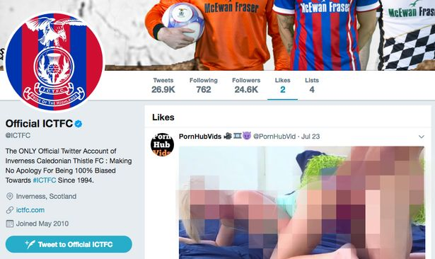 Inverness Caledonian Thistle 'like' an explicit post from a user called PornHubVids on Twitter
