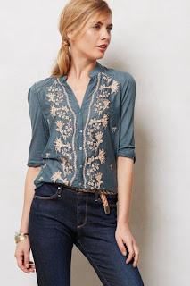 Imágenes Tendencias Moda Mujer Instagram Primavera Verano camisa jean bordada