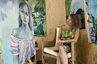 Ayoe L L Pløger, kunstnerbolig, Hvide Sande, maleri, kunst, art 56, farverig, glad,