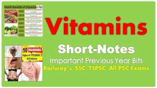 Classification of Vitamins Related GK Questions For Railway SSC TSPSC Other Exams