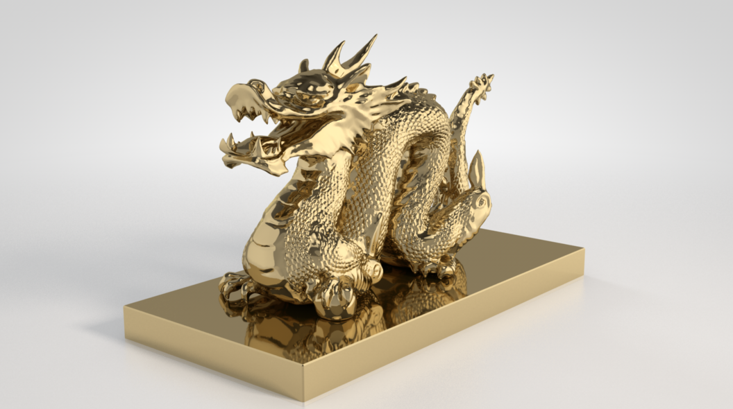 Free VrayC4D High Subdivision Gold Dragon Model by Josef Bsharah