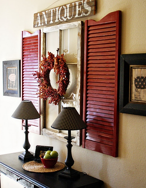 Shutters With Salvaged Window Wall Display Via Clarendon Lane