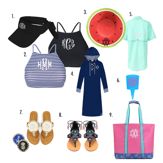 monogrammed sandals and swim suit and fishing shirt