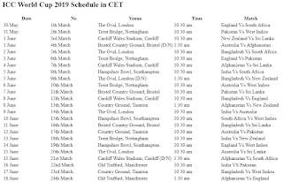 World Cup 2019 Schedule in CET ( Central European Time ) PDF Download